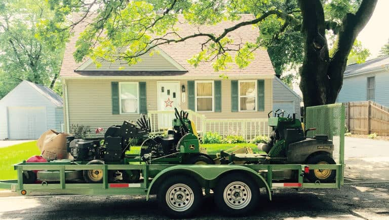 Lawn care equipment on trailer