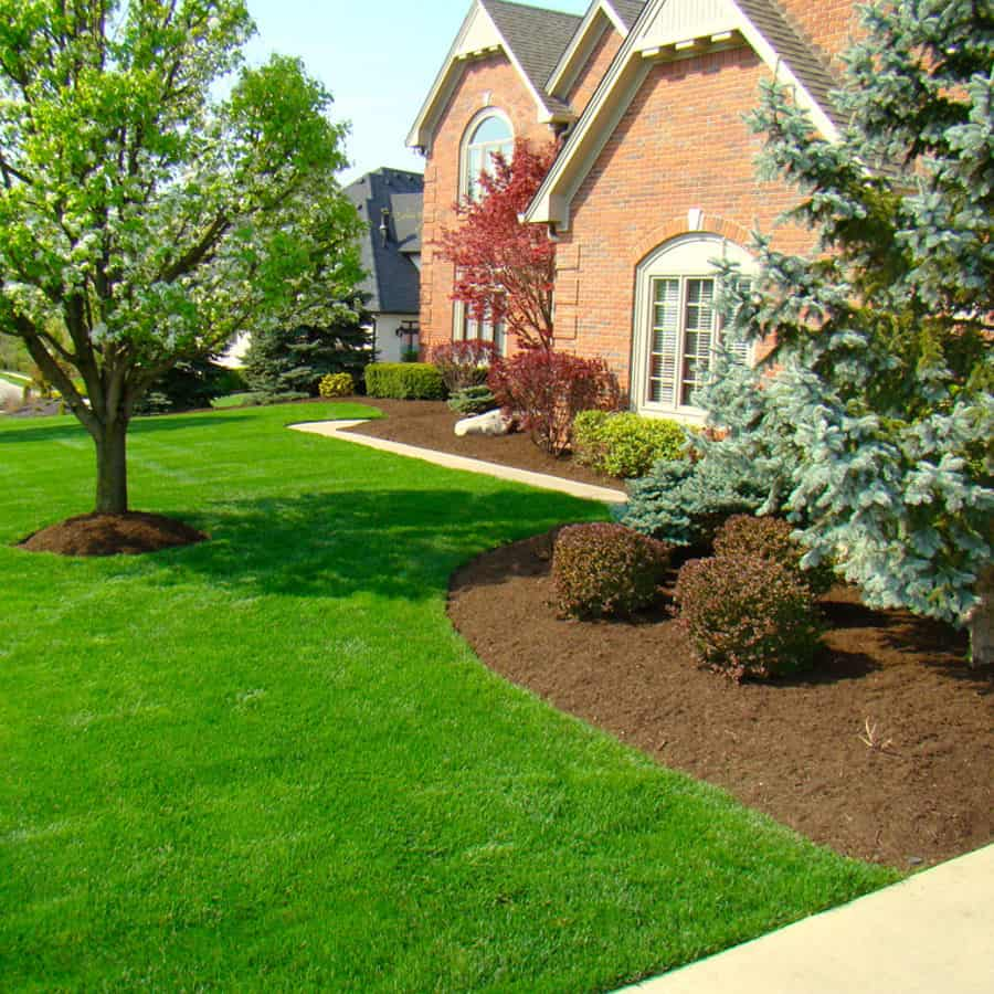 Mulching service in a residential property.