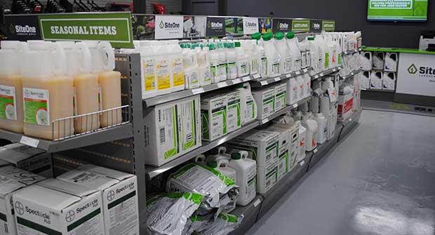 Lawn care pesticides on shelves